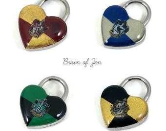 Hogwarts Themed Heart Padlock Working Lock for Submissive Collar