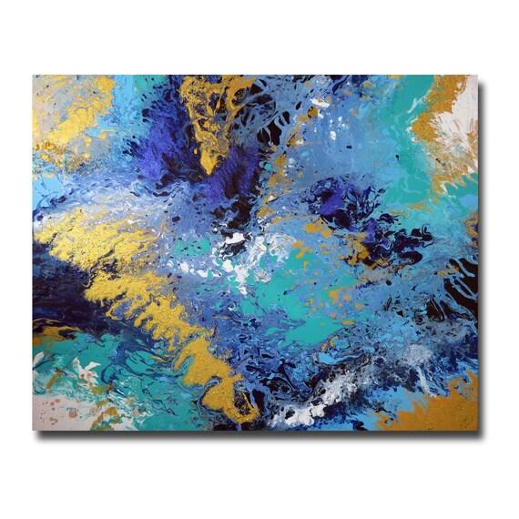 tableau moderne abstrait bleu toile fluide vert bleu mint dor. Black Bedroom Furniture Sets. Home Design Ideas