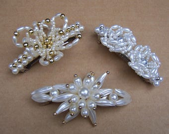 Three vintage 1980s hair barrettes hair slide hair clip hair ornament hair jewelry hair accessory (ZAN)