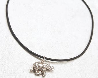 Black Choker with Elephant Charm Necklace Sterling Silver
