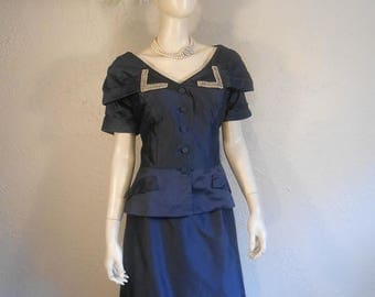 WW2 ENDS SALE ADiorable Social Event - Early 1950s Navy Sateen Rayon Bejeweled Jacket Skirt Suit - 12/14