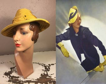 In the Mist of a Memory - Vintage 1930s Mustard Yellow Rayon Honey Comb Beehive Peaked Fedora Hat