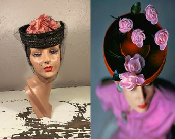 Roses & Posies Upon My Head - Vintage 1940s WWII Navy Straw Breton w/Flowers Chenille Dot Veil