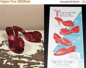 Anniversary Sale 35% Off Powder Puff & Lipstick - Vintage 1940s NOS Blood Red Satin Boudoir Heeled Shoes Wedding Heels Shoes - 6