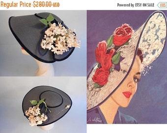 Anniversary Sale 35% Off Mid Summer Wedding - Vintage 1950s Navy Faux Straw Platter Dish Wide Brim Hat w/Floral Side & Hat Pin