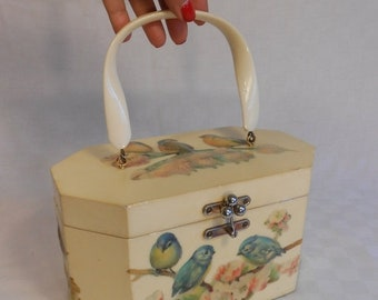 Anniversary Sale 35% Off ThreeLittle Dickie Birds - Vintage 1950s Blue Birds On Cherry Blossoms Decoupage Wooden Handbag