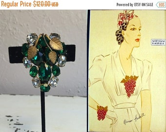 Anniversary Sale 35% Off A Passion Over Her Heart - Vintage 1930s Emerald Green Open Backed Crystal Rhinestone Fur Dress Clip Brooch