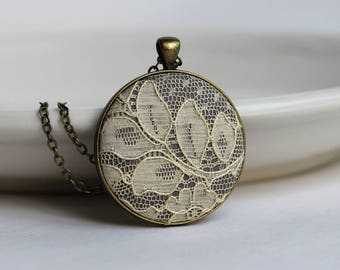 Lace Necklace, Unique Gift for Women, Wife, Mom, Teacher, Art Nouveau Wedding, Boho Gray Bridesmaid Gift, Bridal Jewelry