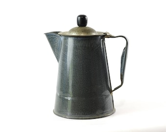 Enamel Coffee Pot, Vintage Farmhouse Decor, Gray Graniteware, Vintage Enamelware