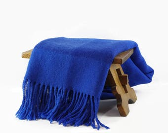 Vintage Hand Woven Wool Throw Blanket, Scandinavian Home Decor, Wool Throw with Fringe, Nordic Blue Wool Lap Blanket, Made in Sweden