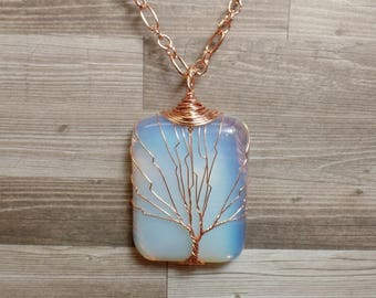 Opalite Tree of Life Necklace - Opalite Necklace - Gemstone Necklace - Opalite Pendant - Copper Necklace - Rectangle Necklace