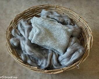 Basket Stuffer and Mohair Wrap, Dark Gray Basket Stuffer, Prop Fluff, Newborn Props, Natural Props, Organic Props, RTS, Basket Filler