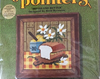 vintage needlepoint kit Bread and butter, Sunset Designs, kitchen decor, 5 by 5 inches complete kit