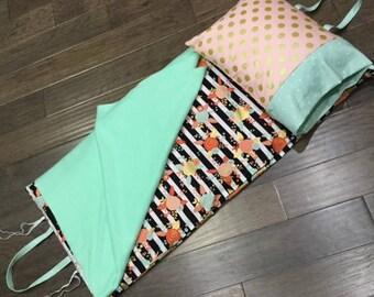 Kindermat Napmat Cover - Floral Poppy Stripe