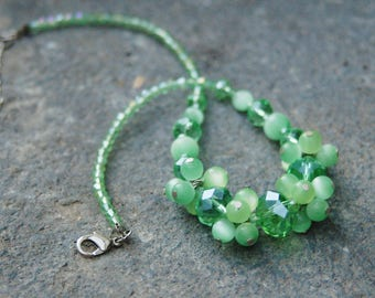 Green Cats Eye Crystal Bauble Statement Necklace