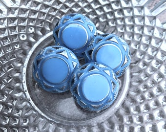 Sky Blue Glass Buttons, Silver Accents, Antique Czech's Glass Buttons, 17mm, Circa 1930's, Button Jewelry, Rare, Glass Button, Blue Glass