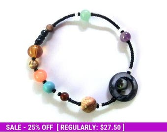 June SALE! MiniVerse 2004 - Elastic Solar System Bracelet with Pluto - Proportional Distances - Gemstone Planets - by Chain of Being