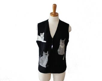 50% half off sale // Vintage 90s Cats and Yarn Embroidered Black Wool Vest - Ladies Small, primitive design, folk art style