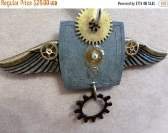 Clearance Sale Steampunk Wings Assemblage OOAK Earrings and Pendant