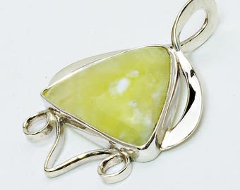 Prehnite and Sterling Silver Pendant, pprhg2812