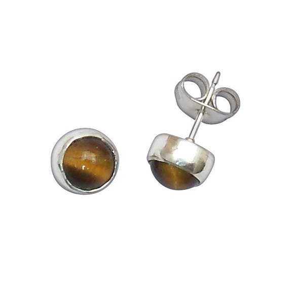 Tiger's Eye and Sterling Silver Post Earrings  etgrb2950