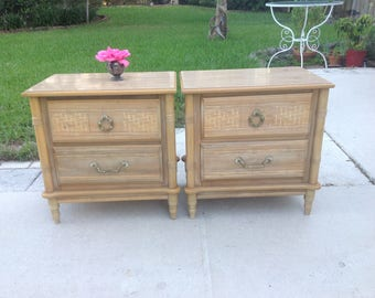 FAUX BAMBOO NIGHTSTANDS /  Old Florida Faux Bamboo Night Stands with brass Pulls / Palm Beach Coastal Style Retro Daisy Girl