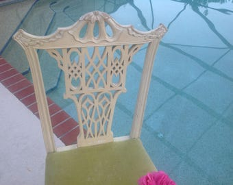 PAGODA STYLE CHIPPENDALE Chair /One Dining Chair / Chinese Chippendale Chair with Fretwork / Century Chair Co / One Chair Retro Daisy Girl