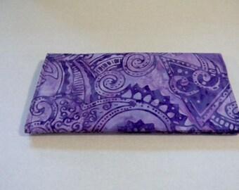 Lavender Floral Batik Checkbook Cover