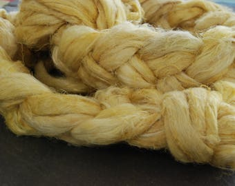 STRAW - FLAX/LINEN fiber ~ Colours by Nature ~ plant dyed - perfect for vegan needle felting