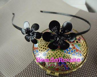 20%off 2pcs (HB-02-FL) Black Coating With Flower HeadBand,Nickel Free.