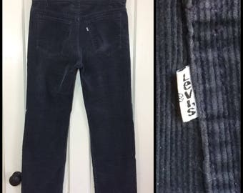 1980s Levi's 519 corduroys 36X30, measures 35x30 dark blue gray straight leg corduroy jeans made in USA  #1598