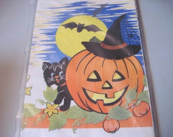 Vintage Halloween Pumpkin black cat and Bats Paper Tablecloth