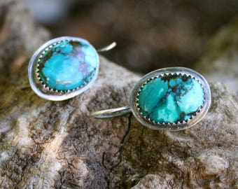 Turquoise Sterling Silver Oxidized Boho Southwestern Artisan Dangle Earrings