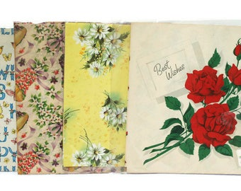 Vintage Wrapping Paper  /  Craft or Scrapbook Supplies  /  Paper Ephemera  /  Mid-Century Gift Wrap  /  Vintage Packaging Materials