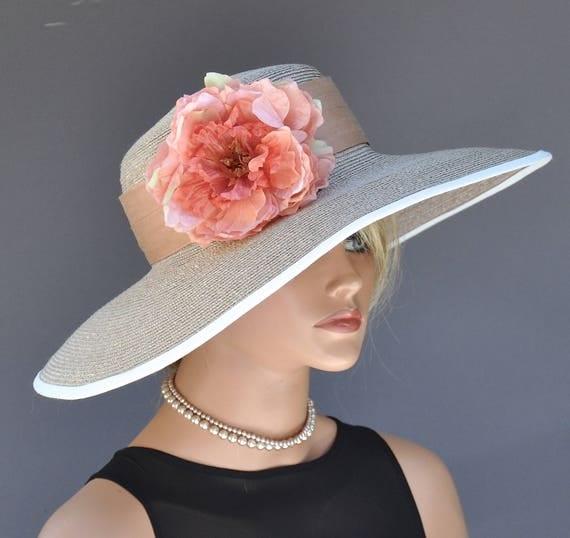 Wide Brim Straw Hat, Wedding Hat. Formal Hat, Kentucky Derby Hat, Garden Party Hat, Church Hat, Women's Taupe Hat, Coral Hat, Tea Party Hat