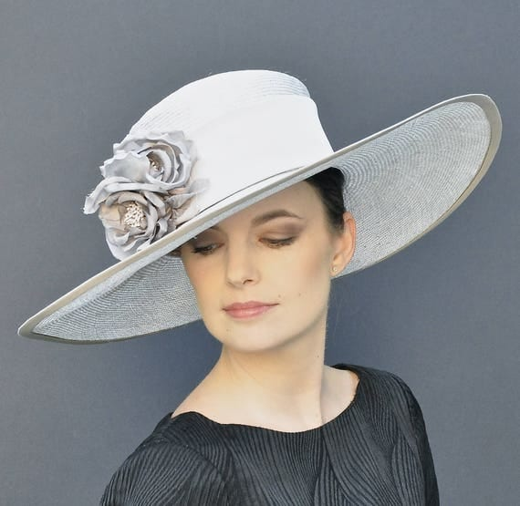 Kentucky Derby Hat, Wedding Hat, Wide Brim Hat, Ascot Hat, Formal Hat, Taupe Straw Hat, Ladies hats, Dressy Hat, Event Hat, Occasion Hat