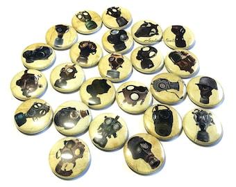 "Gas Mask, 1"", 1.5"", Button , Gas Mask Button, Respirator Decor, Gas Mask Party Favor, Respirator Theme, Gas Mask Pinback, Mask, Respirator"