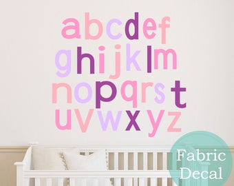 children Alphabet Wall Decals - kids  Wall Sticker  Fabric Wall Decal perfect decoration for nursery or playroom
