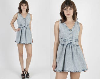 Grunge Dress Denim Dress Acid Wash Dress Jean Dress 90s Dress Boho Dress Acid Washed Dress Vintage Dress Festival Micro Mini Dress