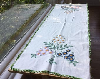 Vintage handmade embroidery table runner doily houseware home decor, vases