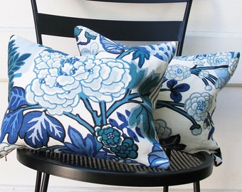 Schumacher Pillow Cover - SPECIAL - Pillow Cover - Chiang Mia - China Blue - 12x16 - ready to ship