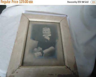 Back Open Sale Vintage Picture Or Photo Of Young Boy In Wood Frame, collectable