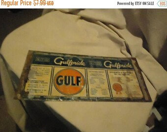 Back Open Sale Unrolled Gulf Gulfpride Motor Oil One Quart Tin Can or Sign From Estate