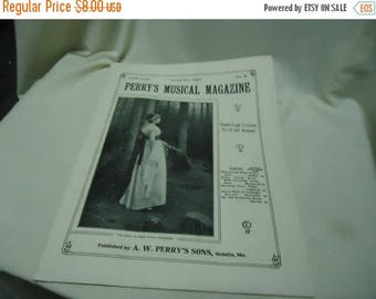 Ephemera & Books 50% Sale Vintage 1928 Perry's Musical Magazine Sheet Music, August, no 5, collectable