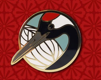 Red Crowned Crane Lapel Pin
