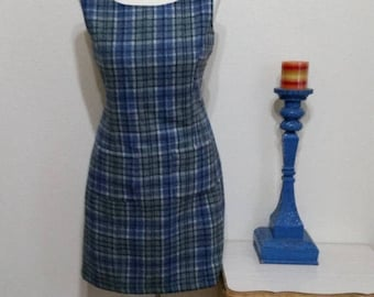 Clear Out Sale 1980's to 90's Wool Plaid Jumper by Fargo, Blue Plaid, Size Large,  #63894