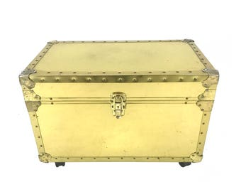 Vintage Riveted Wheeled Brass File Folder Trunk