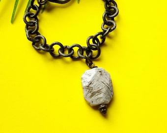 Modern charm bracelet//jasper bracelet// genuine gemstone bracelet // The Jenae
