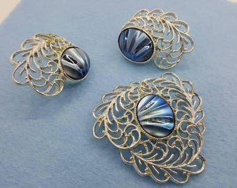 Sarah Coventry Royal Plumage Brooch and Clip earrings 1962