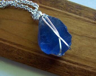Natural Blue Fluorite Beautiful New Mexico Gemstone Crystal Pendant